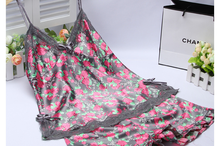 Women's sleepwear twinset summer spaghetti strap sleepwear faux silk women's lounge sleepwear lace spaghetti strap