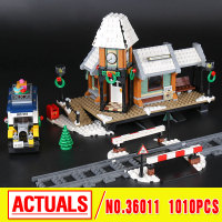 Lepin 36011 Creative Series The Winter Village Station Set Genuines 1010Pc Building Blocks Bricks Educational Toys