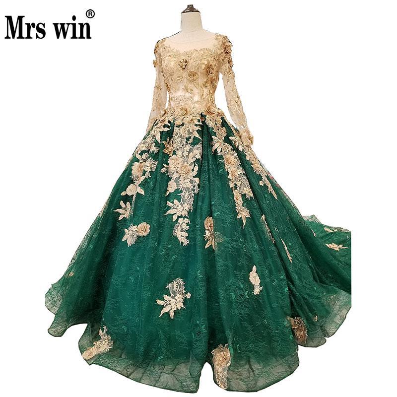 Robe de mariage 2018 Le Vert Plein Manches Élégant Col Bateau De Luxe Broderie Balayage Train Princesse Vintage Robe De Noiva F