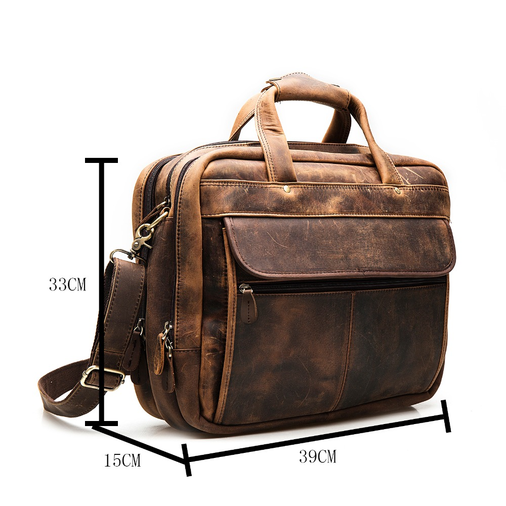 Men Original Leather Fashion Business Briefcase Messenger Bag Male Design Travel Laptop Document Case Tote Portfolio Bag 7146-d
