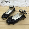 LIN KING Women Pumps Candy Color Shallow Mouth Square Heel Lace Lolita Shoes Sweet Bowtie Princess Pumps Cosplay Maid Shoes
