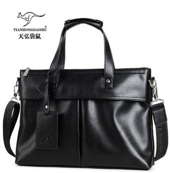 TIANHONGDAISHU 2018 new arrived Men's Briefcase Business Handbag Soft  pu Leather Cross Men's Shoulder 14″ laptop Messenger Bag Men's Backpacks