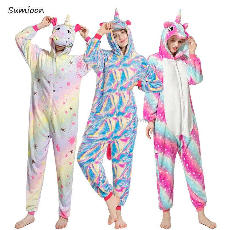 Kigurumi Unicorn Pajamas Sets Cartoon Sleepwear Unisex Adult Women Pijama Onesie Winter Flannel Animal Stitch Panda Overalls(China)
