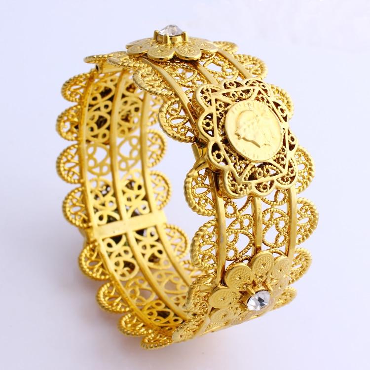 Marca de Luxo Estilo da Cor do Ouro Pulseiras de Casamento com Zircão para o Meio Mulheres Grande Bangle Dubai Africano Jóias Presente Leste jh 68mm
