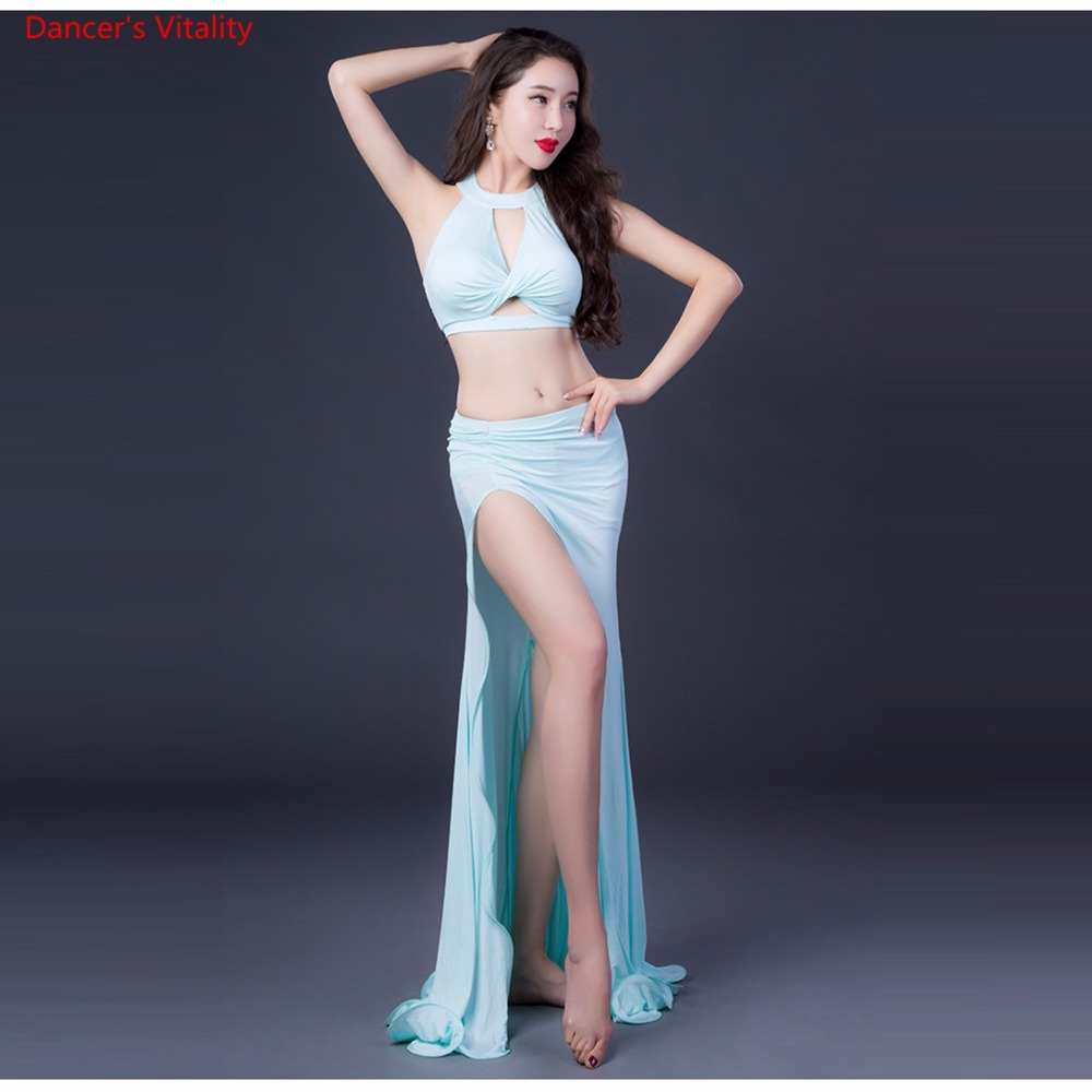 2018New Fashion Sleeveless Long Godess Skirt Sexy Belly Dance Set For Women/Female/Lady,Costume Performance Wear