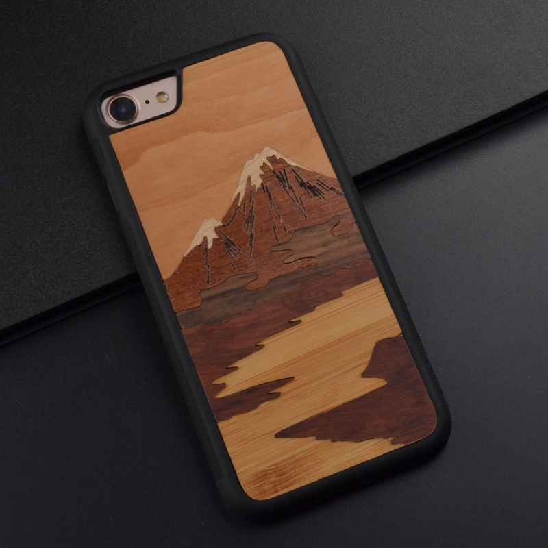 Fuji Mountain Mobile landscape real wood carve Phone Case For Iphone X 8 6S 7 Plus Beautiful Phone cover For Huawei P10 Plus