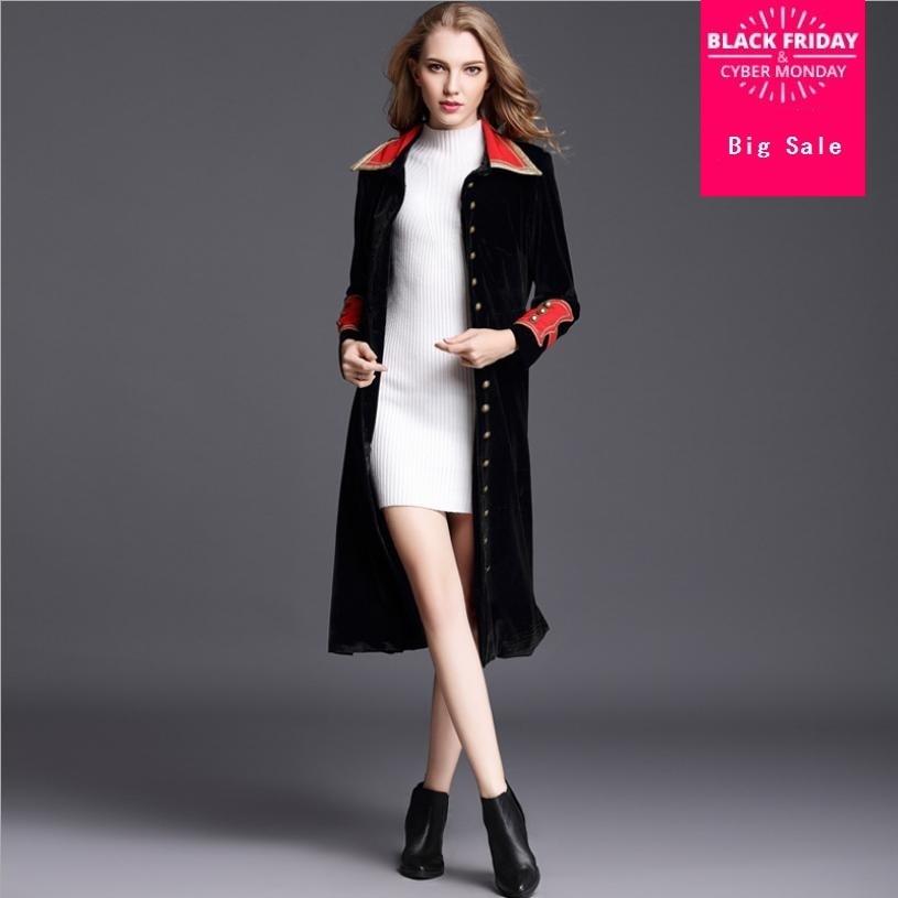 2018 autumn new women's windbreaker coat hit color velvet slim overcoat long fashion   trench   female single breasted outwear L1455