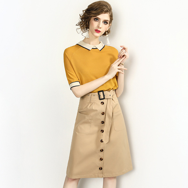 Set Women Suits Two Pieces Set Knitted Pullover Top Turn-down Collar Short Sleeves Sashes Pockets Skirt New Fashion Style 2019