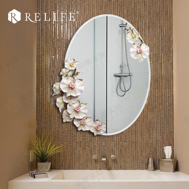 Modern Oval Wall Mirror Bathroom Resin Flowers Decorative Anti Fog  Decoration Mirrors Home Decor