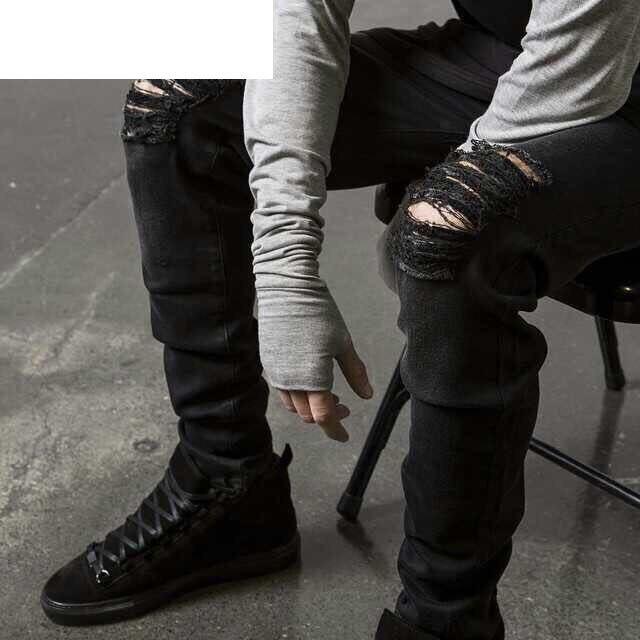Summer Mens Destroyed Denim Jeans Thin Cool Slim Fit Hi Street ...