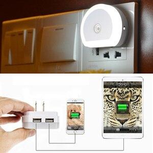 Image 3 - Thrisdar Light Sensor LED Night Light with Dual USB Port 5V 1A Control Room Home USB Plug in Wall Charger Lamp Plug Socket Light