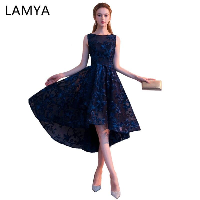 ac129514e LAMYA Customized Simple High Low Prom Dress 2018 Elegant Short Front Long  Back Evening Party Dresses