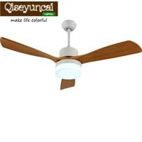 Qiseyuncai 2018 new Nordic minimalist ceiling fan light dining room living room bedroom wood fan chandelier