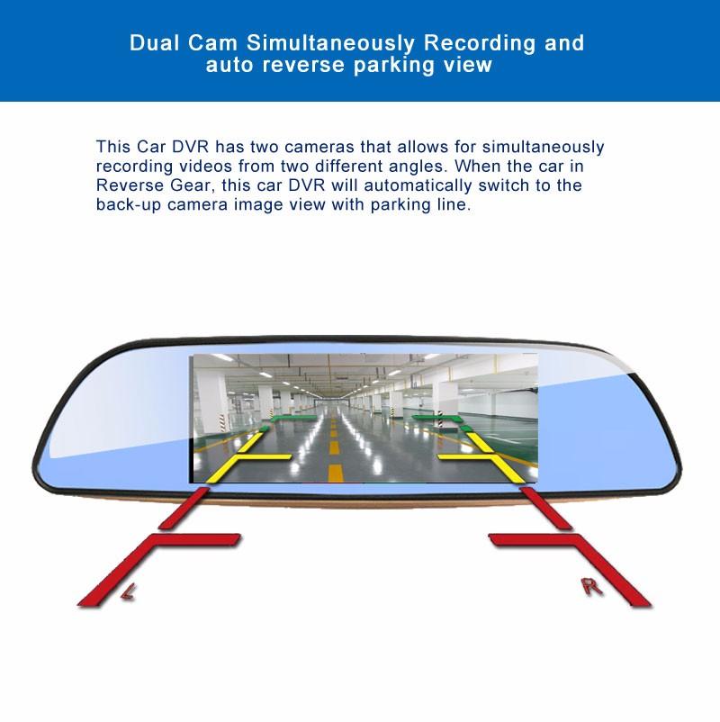 Free 32GB card+3G Car DVR+Android 5.0 Bluetooth GPS WIFI Dual lens rearview mirror camera+FHD1080P camara automovil Phisung H2 15
