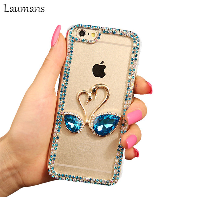 separation shoes 8c648 1887e US $7.9 |Fashion Rhinestone Cases For Iphone X 6 6s 7 8 plus Case Diamond  Sapphire Swan Transparent PC phone Back Cover For 4s 5s 5C SE-in Rhinestone  ...