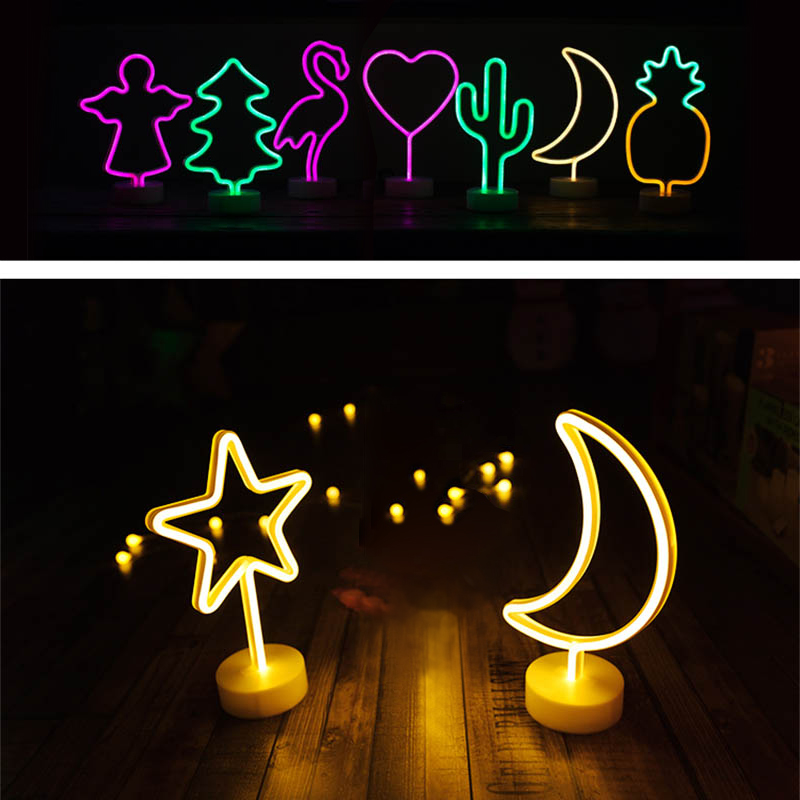 Night Light Battery Power Neon Table Lamp Holiday Light Flamingo Moon Unicorn LED for Festival Wedding Home Decor Light Night jiaderui usb rechargeable battery neon lamp new year christmas wedding decor lamp flamingo cactus moon cloud led home nightlight