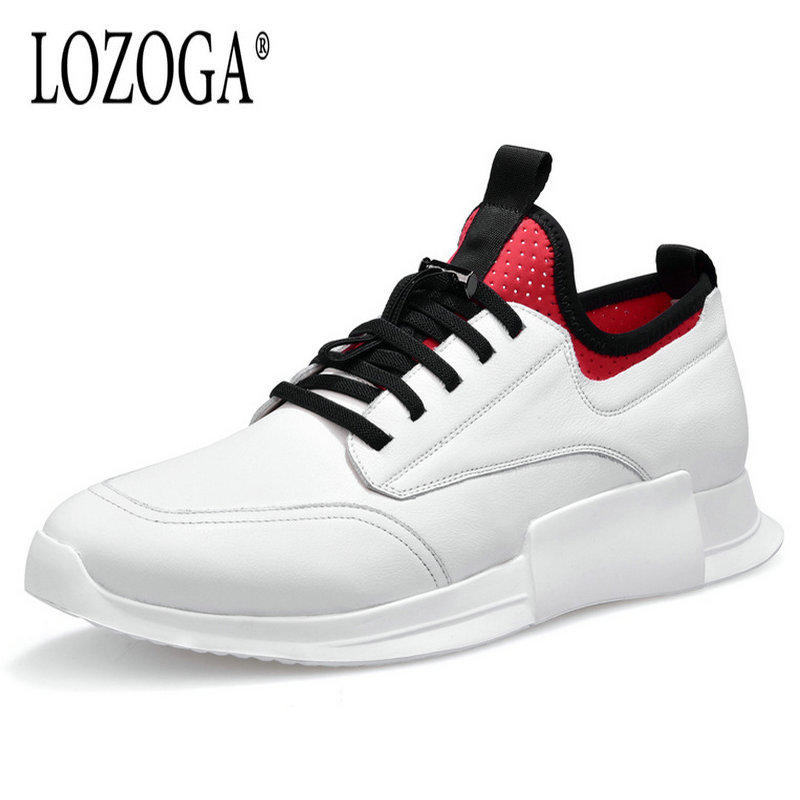 LOZOGA 2018 New Fashion Men Basic Lace-up Sneakers White/Black Genuine Leather Luxury Brand Man Flats Casual Shoes Male Footwear