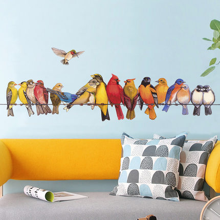 DIY Birds Vinyl Wall Sticker Creative Living Room Kids Baby Room Home Decoration Poster Animal Self adhesive Wallpaper