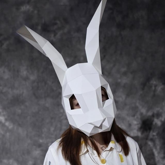 Rabbit Helmet Masquerade Mask DIY Paper Handmade Craft Decoration Cosplay Halloween Costume Party Fun 3D Model