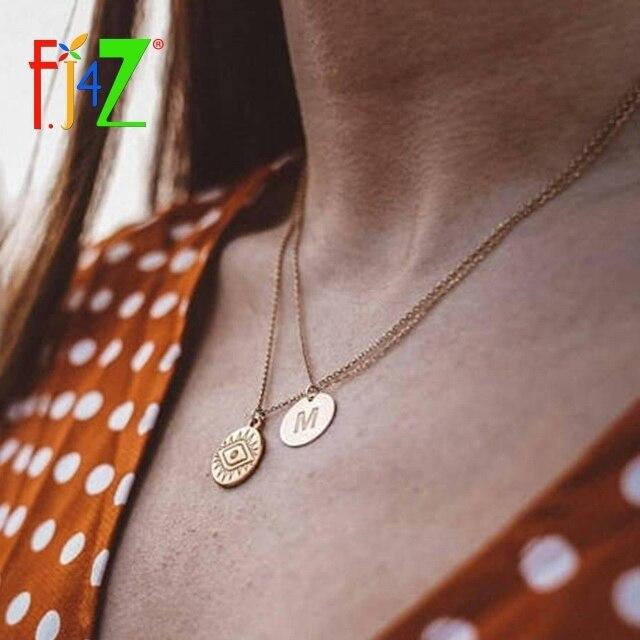F. j4Z Baru Panas Di Ins Mata Kalung Koin Fashion Vintage Paduan Turki Mata Jahat Bulat Liontin Kalung Rantai Pendek
