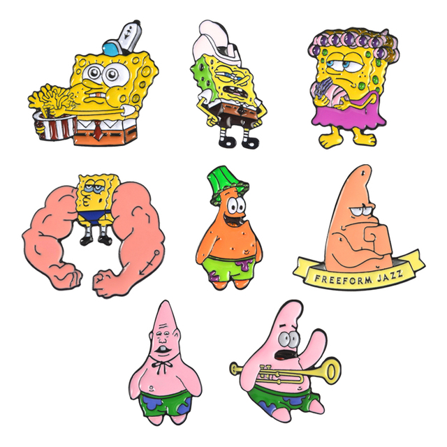 Брошь в виде губки боба, мультяшная, прижимная, Патрик, Звездный дом в форме ананаса, Русалочка, мышцы, джаз, эмалированные шпильки, смешной значок, подарки в стиле панк