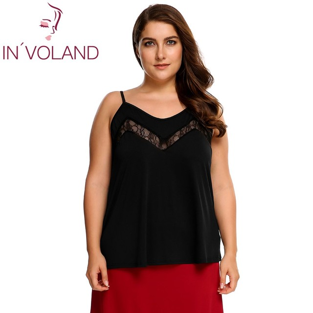 IN VOLAND Women Camis Plus Size Casual Spaghetti Strap Sleeveless Lace  Patchwork Beach Brand Lady Cami Top Oversized XL-4XL 09d790cc11b0