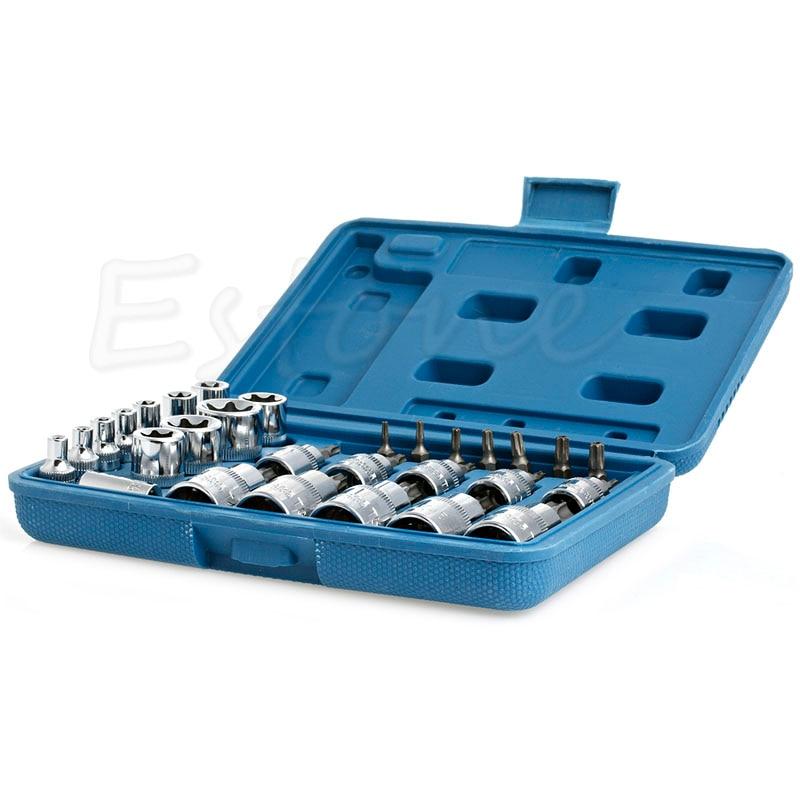 29PCS Torx Socket Bit Set 1/4 3/8 1/2 Chrome Vanadium Bright Chrome High Quality 3 8 10mm chrome vanadium ratchet wrench 3 8 spanner socket set crv extend handle