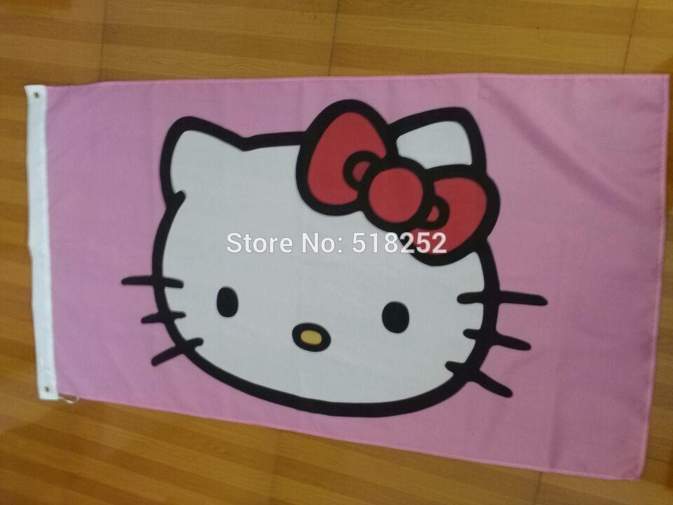 Bonjour Kitty Drapeau 3x5 FT 150X90 CM Bannière 100D Polyester drapeau en laiton oeillets 018, livraison gratuite