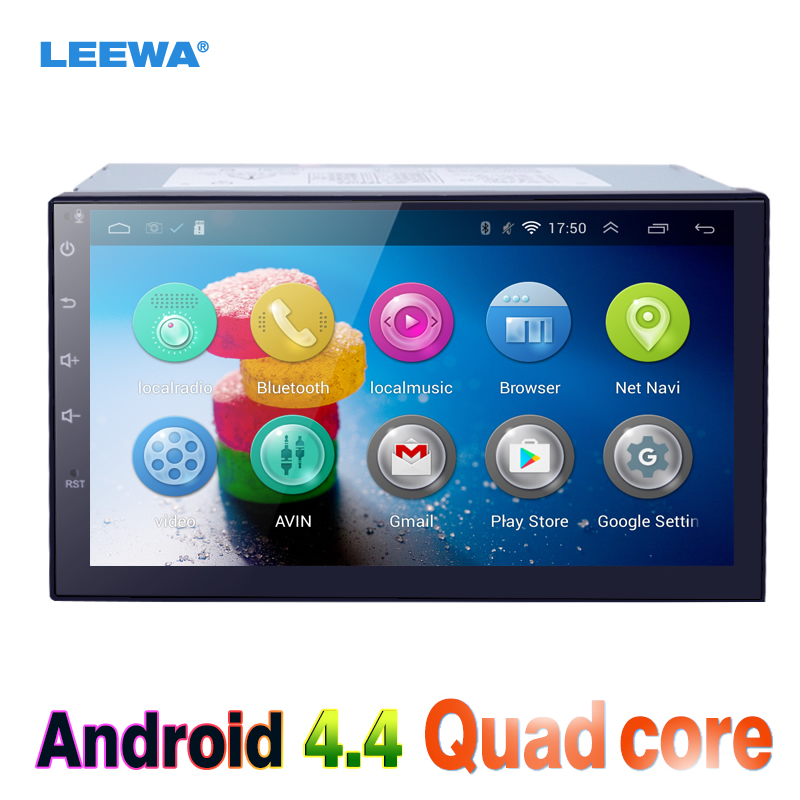 LEEWA 7 7inch Android 4.4.2 Quad Core Car Media Player With GPS Navi Radio For Nissan/Hyundai Universal 2DIN ISO #CA3900 feeldo 7inch android 4 4 2 quad core car media player with gps navi radio for nissan hyundai universal 2din iso gift am3900