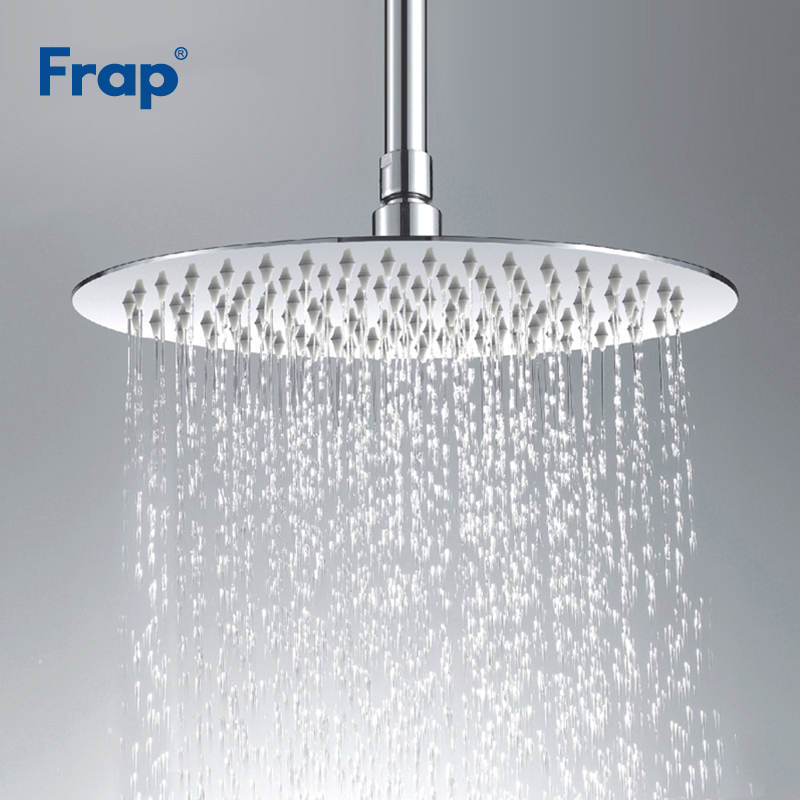 Frap Stainless Steel Ultra-thin Waterfall Shower Overheads Rainfall Shower Head Rain Shower Square Round Diameter 300mm G29*3