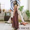 Ave. Plata Designer Original marca 2016 verão Boho Maxi Dress mulheres Vestidos longos Red Wine Backless Vestidos Robe Longue Femme