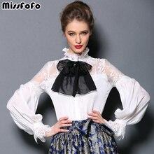 MissFoFo One Piece Blouse Shirt Slim Embroidery Women's Demi-Season Fashion Casual Shirt 2017 Autumn and Spring Bow 2XL Lantern