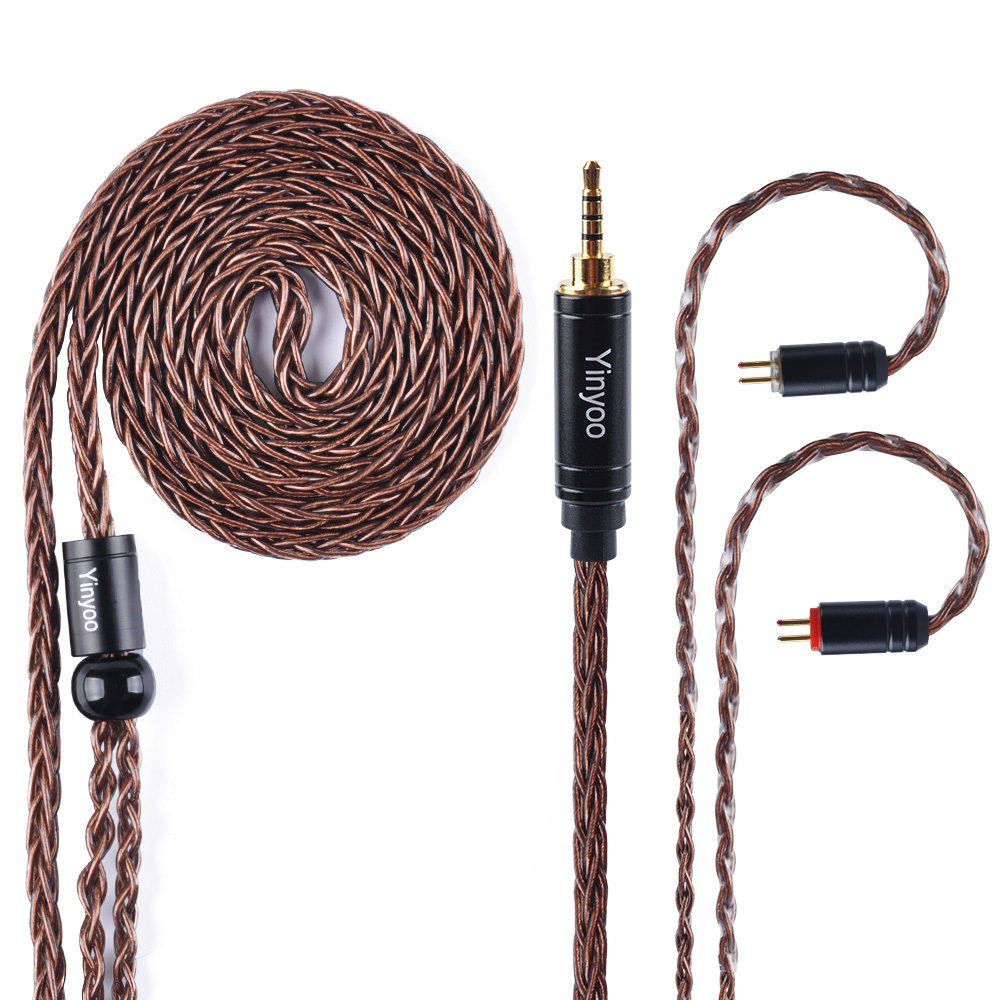 Yinyoo 8 Core 2 5 3 5 4 4mm High Silver Plated Copper Cable Earphone Upgrade Cable With MMCX 2Pin For QT5 KZ AS10 ZS10 TRN CCA in Earphone Accessories from Consumer Electronics