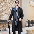 Men's Long Genuine Leather Coat Classic Black Suit Collar Men's Clothing Male Autumn and Winter Sheepskin Lengthen Trench