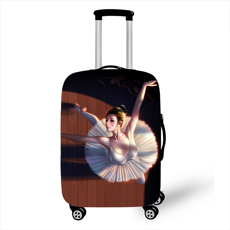 Cartoon Ballet Dancer Luggage Cover For Traveling Suitcase Protective Covers Elastic Trolley Case Covers Travel Accessories