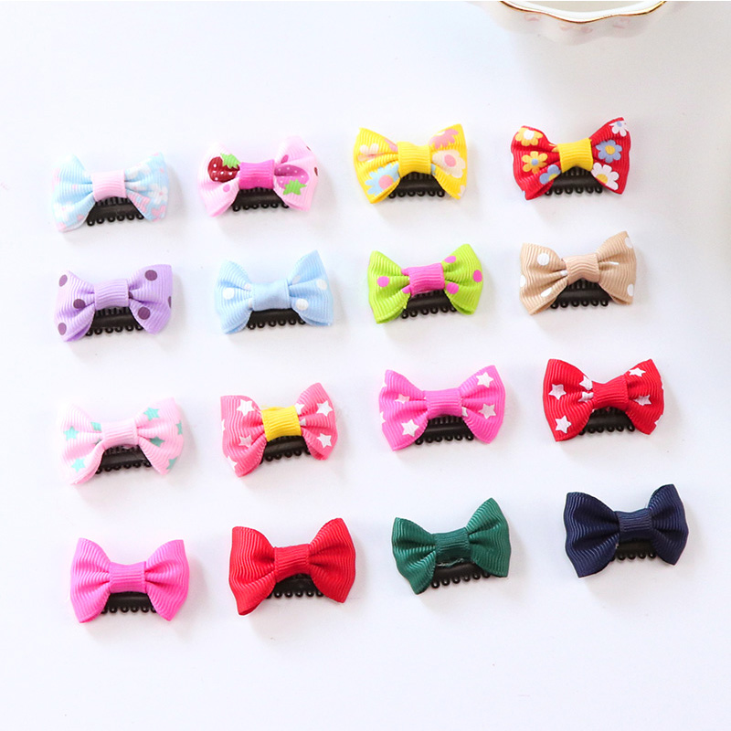 8PCS/Lot New Fashion Baby Girls Hair Clips Solid Dot Printing Small Bow Hair Pins Kids Cute Hairgrips Children Hair Accessories 10pcs lot small flower baby kids hair