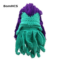 Novetly BomHCS Octopus Peruka Maska Czapka Zimowa Handmade Crochet Hat Halloween Prezent Cosplay