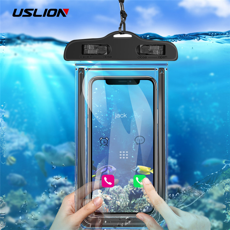 USLION Universal Waterproof Case For IPhone XS MAX X XR 8 7 6 Plus Cover Pouch Bag Cases For Samsung Huawei Xiaomi Phone Coque