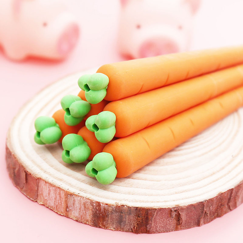 9.6cm Carrot Eraser For Pencil PVC Pencil Eraser For Kids Gift Drawing Writing Eraser Creative Stationery School Office Supplies