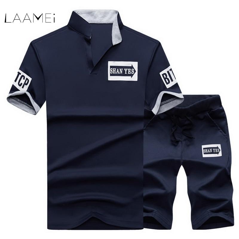 LAAMEI 2018 Sportsuit Men Suits Summer 2PC Breathable Short Set Mens Design Fashion T-sh ...