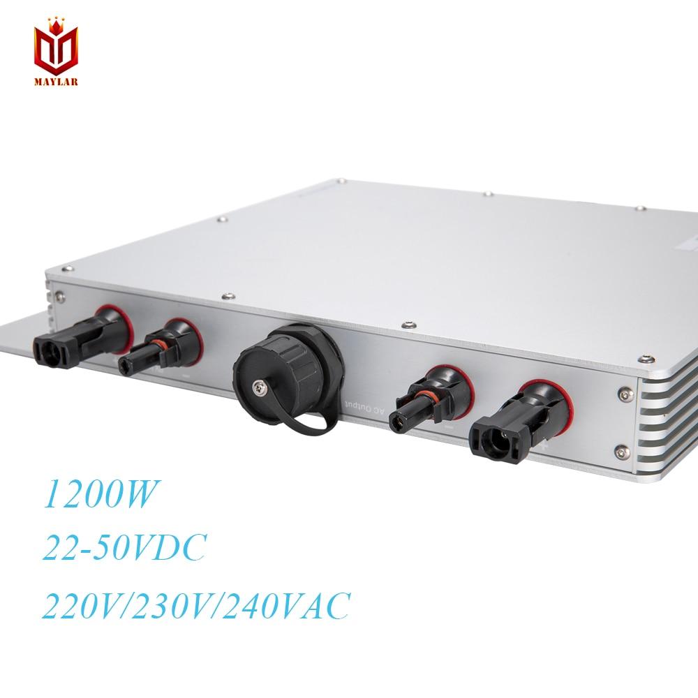 цена на MAYLAR@ 2PCS for 22-50VDC Micro Inverter for Solar Panel 220V/230V/240V IP65 Waterproof MaySun 1200W MPPT Grid Tie Inverter