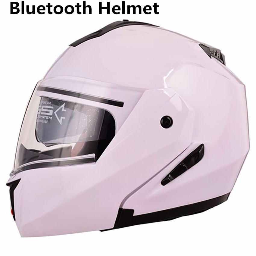 HOT SELL Built-in Bluetooth Helmet Double Lens Motorcycle Helmets Flip up Motor bike Capacete Casco DOT Approval L XL XXL WHITE sisjuly white xxl