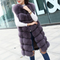 Natural Fox Fur Coat 100% Real Fox Fur Long Vest Gilet 2018 Women's Winter Warm Jacket Coat For Lady Outerwear Real Fur Clothes