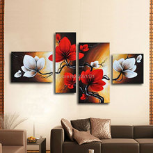 Hand painted blooming Flower painting red brown Abstract landscape picture home Decor Oil Painting on canvas 4 panels wall art