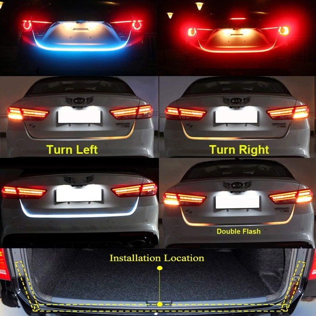 Niscarda Car Additional Stop Light Dynamic Streamer Floating LED Strip 12v Auto Trunk Tail Brake Running Turn Signal Lamp