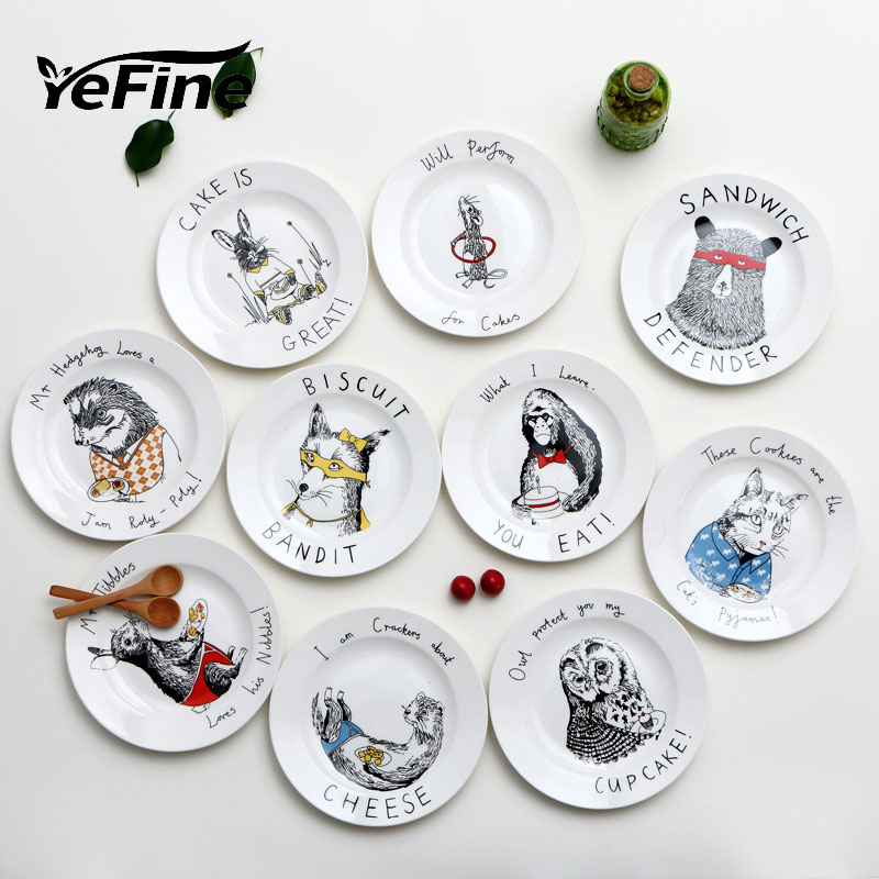 yefine placas de cermica de dibujos animados diseo prctico envase de alimento vajilla de platos y