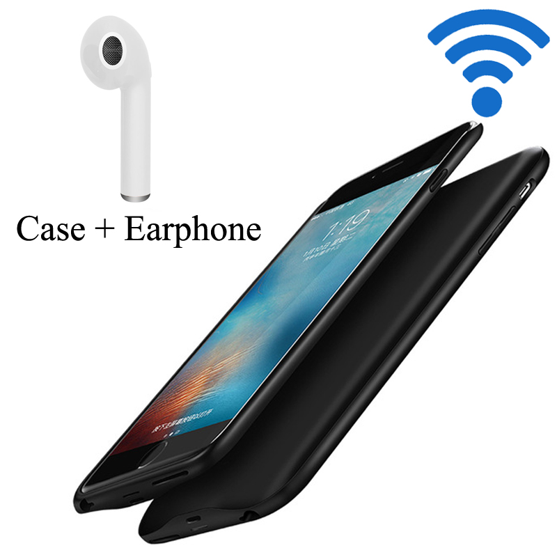 NEWDERY External TPU Backup Power bank Pack <font><b>battery</b></font> Charger <font><b>Case</b></font> Cover For <font><b>iPhone</b></font> <font><b>6</b></font> 6S 7 Plus with Bluetooth earphone image