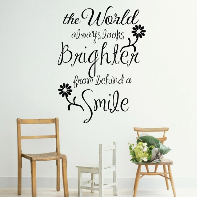 Ebay hot the world always looks brighten from smile romantic vinyl wall quote decal stickers