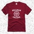 Хиллман Колледж Одежда мальчик и девушки Футболки 100% хлопок Американский Университет Одежды freeshipping высокого качества