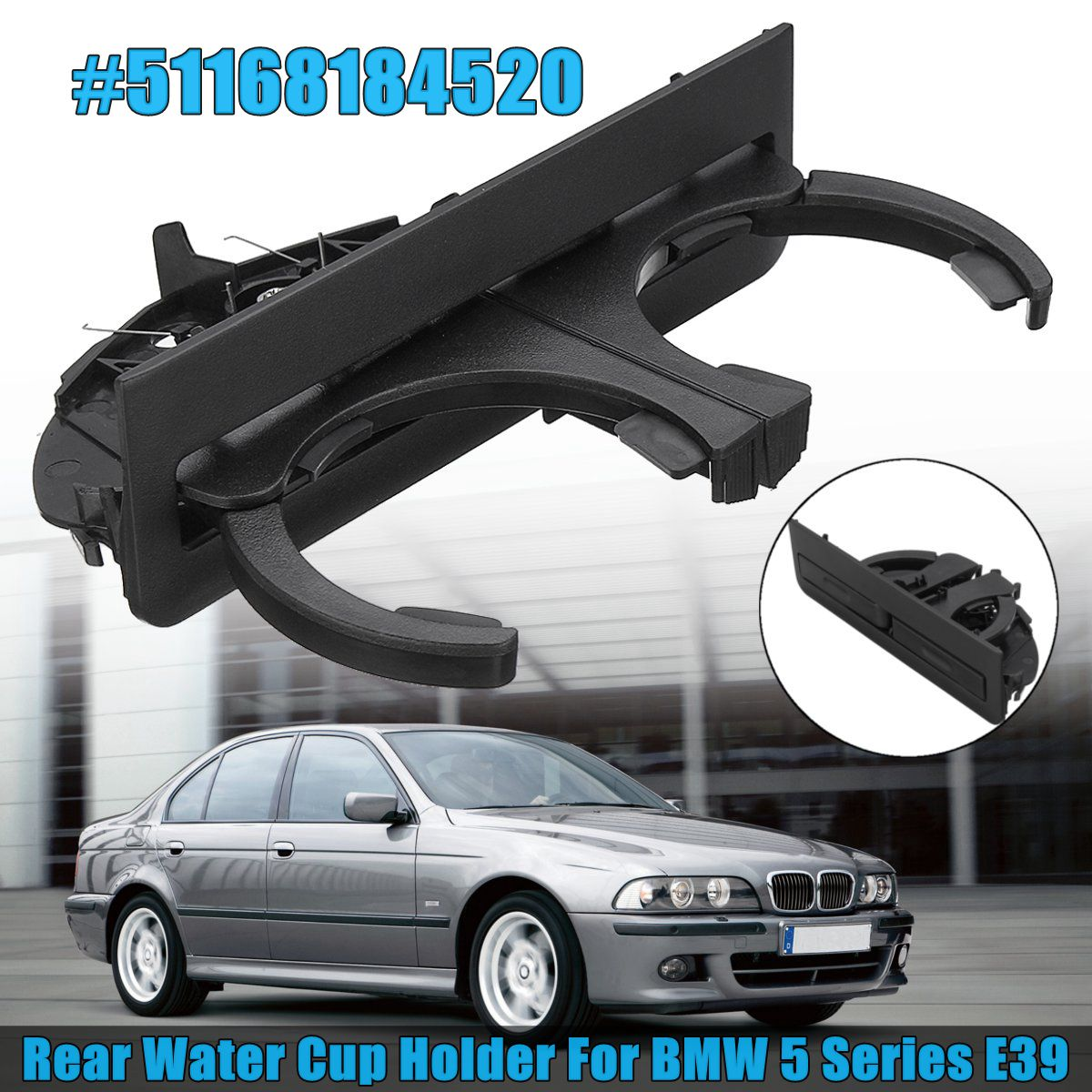 New Black Rear Dual Cup for 2 Drink Water Holder Front for BMW 5 Series E39 #51168184520
